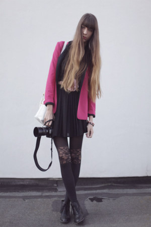 hot pink Zara blazer - black tulle arrondissement dress - black asos tights