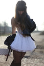 Ivory-tulle-jones-jones-dress-black-leather-vintage-jacket
