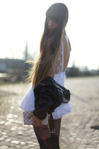 ivory tulle Jones&Jones dress - black leather vintage jacket