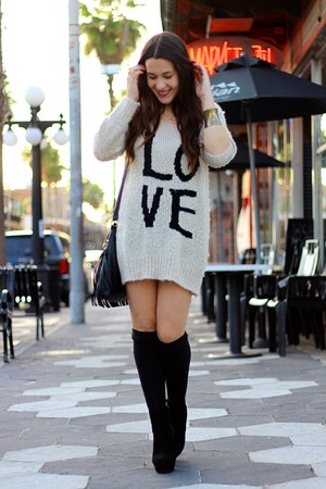 black suede platform GoJane boots - beige over sized love Winsdor Store sweater