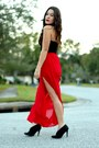 Black-faux-fur-h-m-bag-red-windsor-skirt-black-suede-nine-west-heels