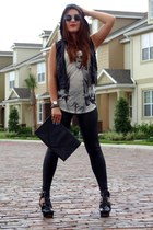 black leather H&M leggings - black Michael Kors boots - gray H&M sunglasses