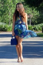 turquoise blue romwe dress - blue vintage bag - gold traffic heels