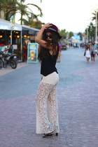 crimson H&M hat - white Urban Outfitters pants - black strappy UrbanOG sandals