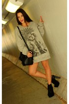 silver aztec pullover Public Universe sweatshirt - black spiked urban og boots