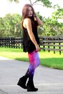 Black-forever-21-boots-purple-galaxy-romwe-leggings