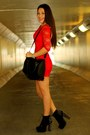 Red-ustrendy-dress-black-spiked-urban-og-boots-black-faux-fur-h-m-bag