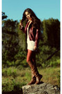 Dark-brown-leather-nine-west-boots-crimson-faux-leather-forever-21-jacket