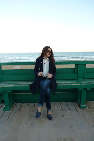 Zara coat - Levis jeans - Zara blouse - Zara flats - Marc Jacobs glasses