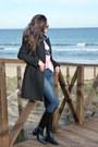 Zara-boots-zara-coat-levis-jeans-levis-shirt-dear-tee-t-shirt
