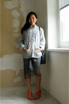 charcoal gray skirt - coral zalando shoes - sky blue stripes shirt