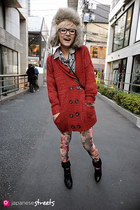 red Agrimony cardigan - beige fur trapper  hat - brick red printed  tights