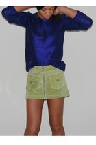 navy metallic Nordstrom sweater - chartreuse suede Hugo Boss skirt