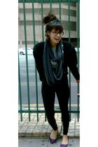 black American Apparel leggings - gray American Apparel scarf - purple Kimchi&Bl