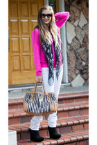 black michael antonio boots - white H&M jeans - hot pink Forever 21 sweater