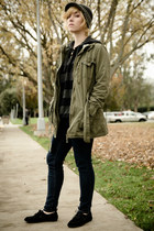 olive green military Mossimo coat - black cutout Misbehave shoes