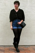black proopticalscom glasses - black merona tights - black H&M blouse