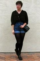 black proopticalscom glasses - black merona tights - black H&M blouse