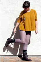dark brown Forever 21 boots - mustard H&M sweater - heather gray merona tights