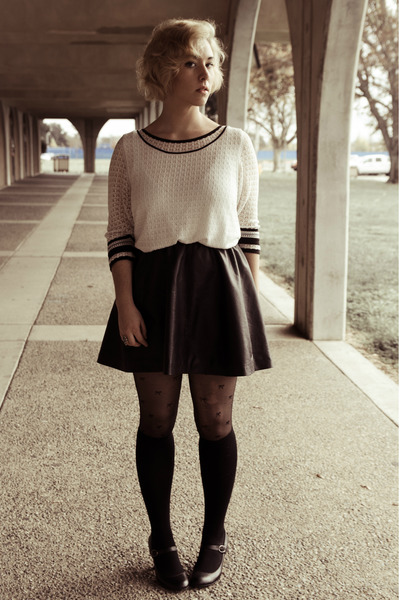 leatherette H&amp;M skirt - lace thrifted sweater