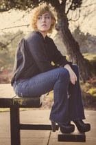 black platform GoJane boots - navy boot cut bullhead black jeans