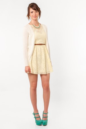 peach nectar clothing necklace - light yellow a-line dress Just Me dress