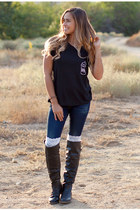 tall black nectar clothing boots - denim nectar clothing jeans