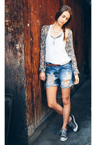 black nectar clothing cardigan - blue denim boyfriend nectar clothing shorts