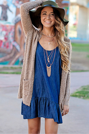 tan sweater nectar clothing sweater - blue denim dress nectar clothing dress