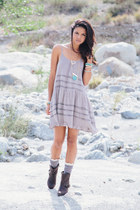 dark brown nectar clothing boots - silver nectar clothing dress