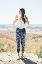 blue paisley trouser nectar clothing pants - white nectar clothing top