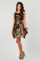 floral crochet nectar clothing dress - taupe nectar clothing heels
