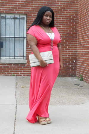 salmon maxi dress handmade dress - off white clutch unknown bag