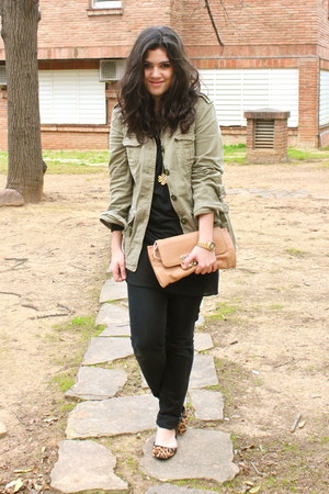 black Mango jeans - olive green Zara jacket - black Zara blouse - orange ASH fla