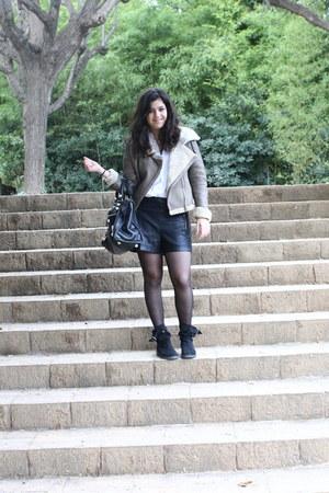 Grandpas closet shirt - hakei boots - Zara jacket - Topshop shorts