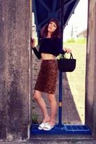 vintage skirt - ivory low platform Topshop sandals - navy H&M top