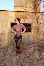 tawny cowboy boots - bubble gum plaid shirt - dark brown tights