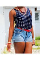 navy polka dot shirt - blue diy vintage jeans - red vintage belt