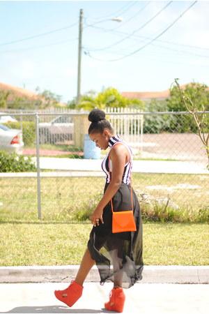 carrot orange thrifted purse - carrot orange agace shoes - white agace dress