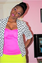 white polka dot Love Culture blazer - hot pink mad rags shoes
