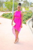nude Forever 21 shoes - hot pink Forever 21 dress