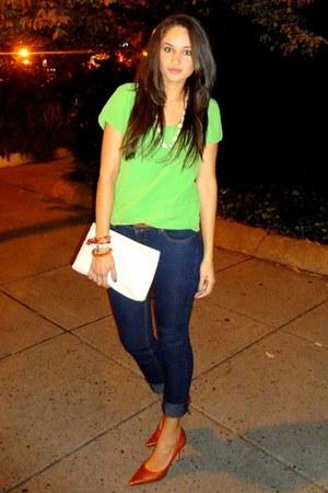 chartreuse banana republic blouse - orange Nine West shoes