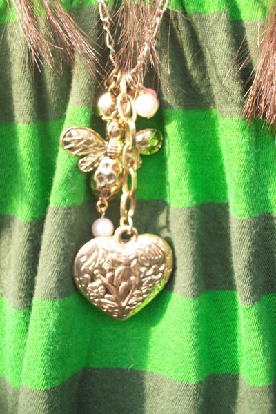 green vintaged dress - gold Forever21 necklace