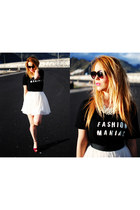white Naf Naf skirt - black Mango shirt - black SunglassesShop glasses
