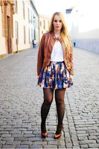 dark brown Zara shoes - brown Massimo Dutti jacket - navy sammydress skirt