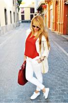 crimson Zara bag - ivory Massimo Dutti jacket - white Massimo Dutti pants