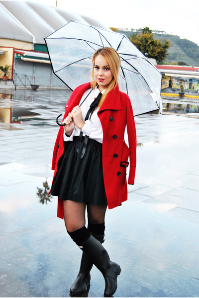 black Hunter boots - ruby red Mango coat - black Calzedonia socks