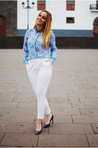 white zeroUV sunglasses - white Massimo Dutti pants - gray Zara heels