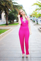 pink Zara necklace - hot pink AHAISHOPPING jumper - beige Mango heels