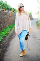 camel Pimkie boots - sky blue Stradivarius jeans - pink nowIStyle sweater